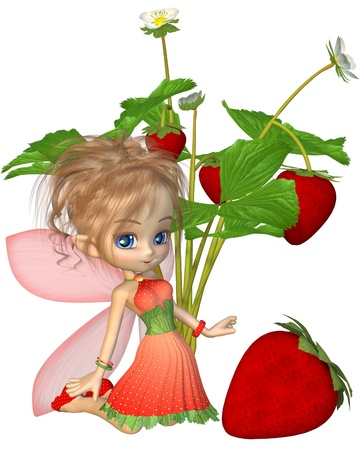 fantasy fairy: Cute toon strawberry fairy with strawberry plant and fruit, 3d digitally rendered illustration Stock Photo