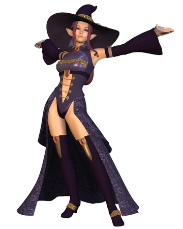 Young female elven wizard in purple hat and robes, 3d digitally rendered illustration illustration