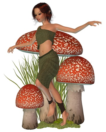 dark haired: Pretty dark haired forest pixie skipping past red and white toadstools, 3d digitally rendered illustration