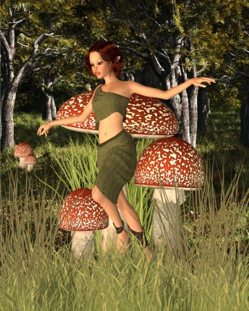 pixie: Pretty dark haired forest pixie skipping past red and white toadstools in a sunny woodland glade, 3d digitally rendered illustration Stock Photo