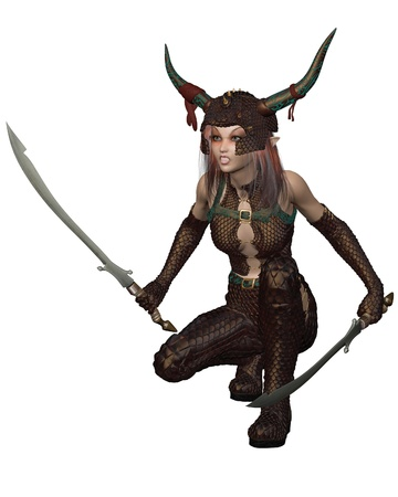 Red-haired warrior elf girl wearing bronze dragon scale armour and helmet and holding two swords, 3d digitally rendered illustration illustration