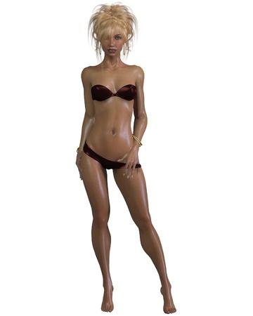 glistening: Beautiful blonde woman with glistening wet skin wearing a dark pink bikini, 3d digitally rendered illustration Stock Photo