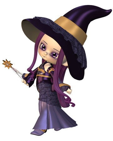 wizard hat: Cute toon female elf wizard in purple hat and robes holding a magic wand, 3d digitally rendered illustration
