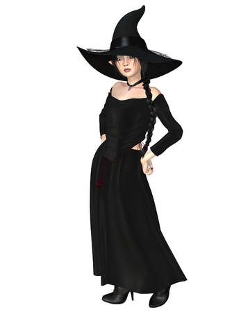 Young witch wearing a black hat and dress with a skull pendant, 3d digitally rendered illustration illustration