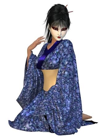 mujer arrodillada: Geisha mujer joven con una flor azul kimono de seda con dibujos de rodillas en una actitud pensativa, 3d rindió la ilustración digital
