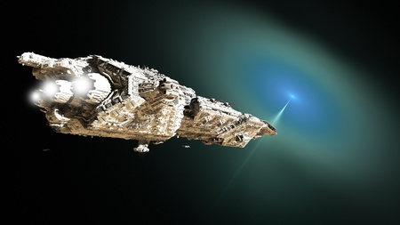 fantasy fiction: Giant battle cruiser and small scout ships approaching an outer space wormhole for lightspeed travel, 3d digitally rendered illustration