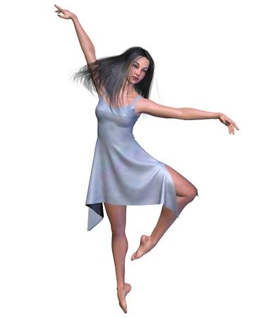 Dark-haired modern or contemporary dancer in a short blue silk dress, 3d digitally rendered illustration Stock Illustration - 13848836