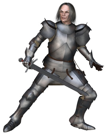 mediaeval: Elderly Mediaeval knight wearing 15th century Milanese armour in a fighting pose, 3d digitally rendered illustration