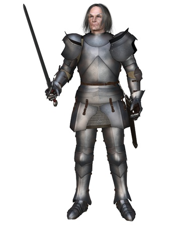 longsword: Elderly Mediaeval knight in 15th century Milanese armour, 3d digitally rendered illustration Stock Photo