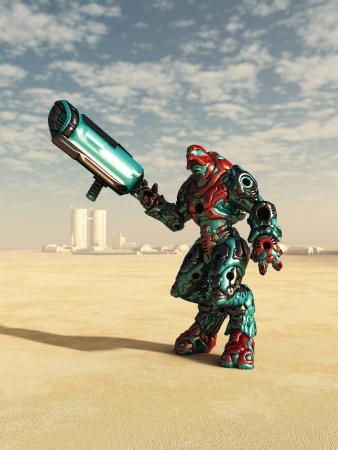 robot: Futurista de ciencia ficci�n de droides de batalla en un paisaje des�rtico fuera de un peque�o pueblo, 3d rindi� la ilustraci�n digital