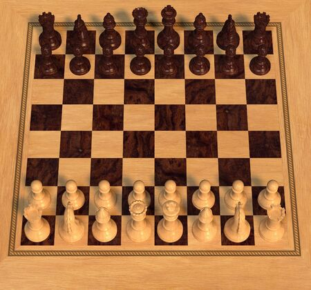 Angled view of polished wooden chess pieces laid out on a board at the start of a game, 3d digitally rendered illustration illustration