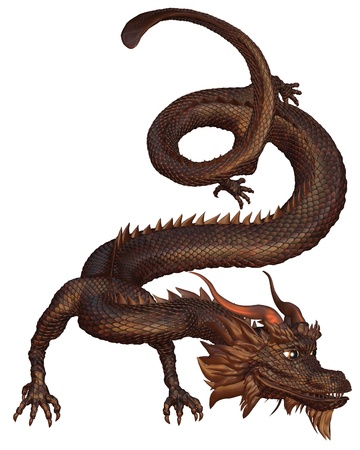 spines: Chinese Dragon with bronze metal scales, 3d digitally rendered illustration