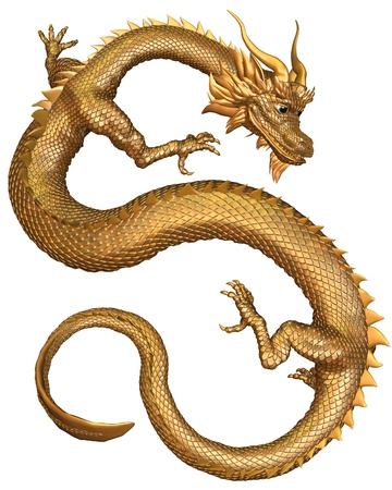 legends folklore: Lucky Chinese Dragon with gold metal scales, 3d digitally rendered illustration