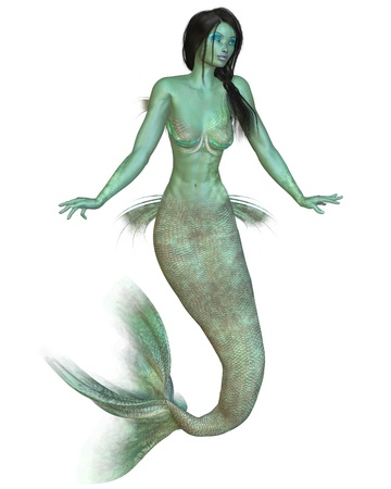 haired: Green skinned dark haired mermaid, 3d digitally rendered illustration