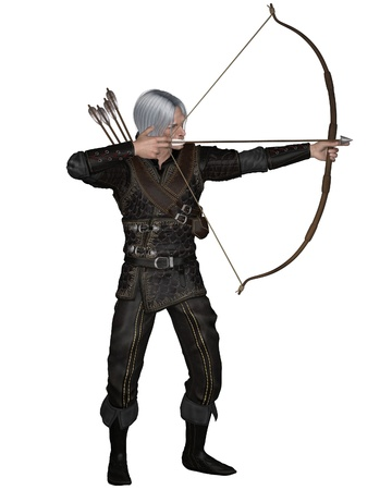 Old Mediaeval or fantasy archer with drawn bow and arrow wearing leather armour, 3d digitally rendered illustration illustration