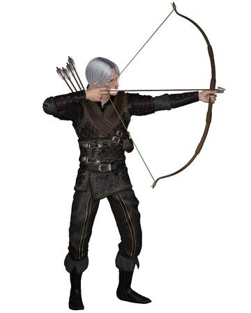 bowman: Old medievale o fantasy arciere con arco teso e la freccia indossare armature di cuoio, 3d digitale reso illustrazione Archivio Fotografico