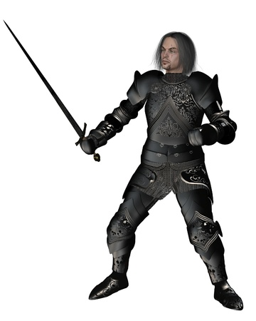 scarred: Scarred medieval or fantasy knight in decorated black armour holding a sword, 3d digitally rendered illustration Stock Photo