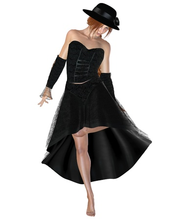 red haired woman: Pretty red haired woman in black lace dress and hat with a black rose on the brim, 3d digitally rendered illustration Stock Photo