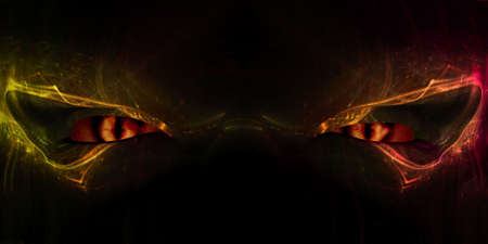 catlike: Close up of a demon face with cat-like glowing eyes, 3d digitally rendered illustration Stock Photo