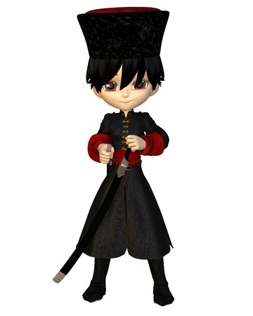 Cute toon cossack boy in papakha hat and long coat carrying a sabre, 3d digitally rendered illustration illustration
