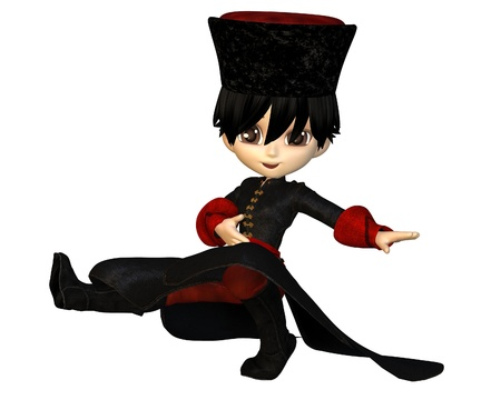Cute toon cossack dancer boy in papakha hat and long coat, 3d digitally rendered illustration Stock Photo