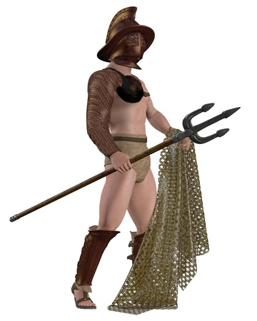 trident: Roman gladiator generally based on the Retiarius type with net and trident, 3d digitally rendered illustration Stock Photo