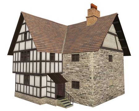 timbered: Stone and half-timbered European Medieval country house isolated on a white background, 3d digitally rendered illustration Stock Photo