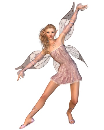 faery: Pretty blonde fairy with pink dress and wings, 3d digitally rendered illustration