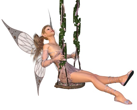 Pretty blonde fairy with pink dress and wings sitting on a swing, 3d digitally rendered illustration Stock Photo