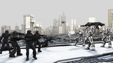 space suit: Space Marines and Combat Droids Battle in a futuristic science fiction city, 3d digitally rendered illustration