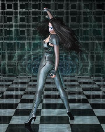 Dark haired science fiction style woman in shiny blue catsuit and blue makeup reflected in a vortex mirror and checked floor, 3d digitally rendered illustration illustration