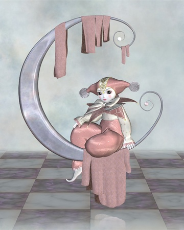 pantomime: Cute Pierrot style clown doll from traditional French pantomime in pink harlequin suit sitting on a silver moon, 3d digitally rendered illustration