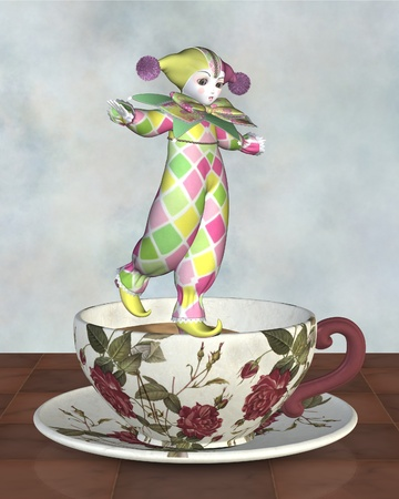 pantomime: Cute Pierrot style clown doll from traditional French pantomime in harlequin suit balancing on the edge of a tea cup, 3d digitally rendered illustration