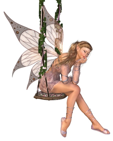 fantasy fairy: Pretty blonde fairy with pink dress and wings sitting on a swing and day-dreaming, 3d digitally rendered illustration