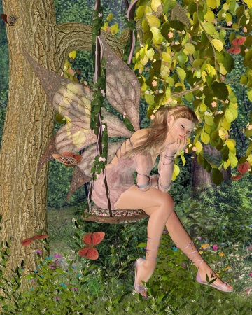 faerie: Pretty blonde fairy with pink dress and wings sitting day-dreaming on a swing in a sunny woodland surrounded by butterflies, 3d digitally rendered illustration