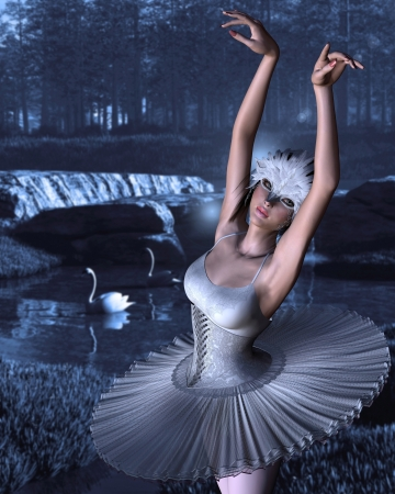 swan lake: Ballerina as Odette the white swan princess from the classical ballet Swan Lake with blue blurred background of woodland lake and swans, 3d digitally rendered illustration Stock Photo