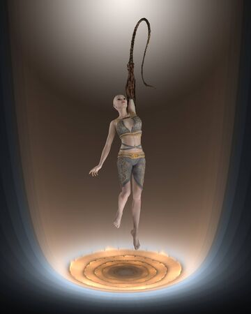 woman floating: Science fiction image of a woman floating in a mutation chamber, 3d digitally rendered illlustration