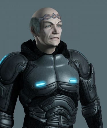 Portrait of an elderly futuristic space marine commander with armour and circlet, 3d digitally rendered illustration illustration