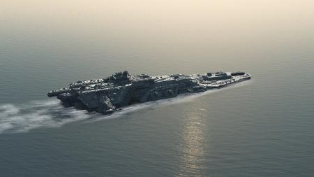 sci: Barco Ciencia ficci�n futurista batalla en el mar, 3d digital rindi� la ilustraci�n Foto de archivo