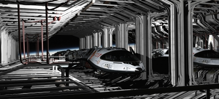 Science fiction illustration of futuristic space shuttle craft parked in a hanger bay, 3d digitally rendered illustration illustration