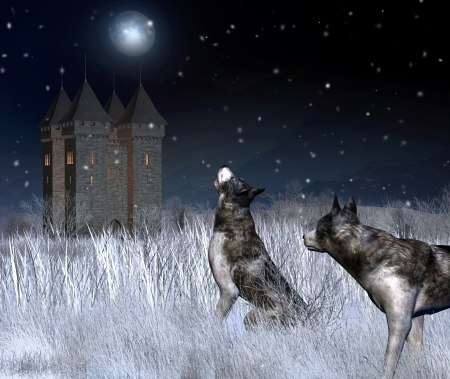 Lonely castle in a moonlit winter mountain landscape with wolves in the foreground, 3d digitally rendered illustration illustration