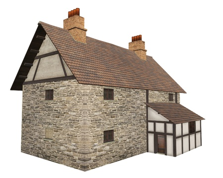 Stone and half-timbered European Medieval country farm house isolated on a white background, 3d digitally rendered illustration illustration