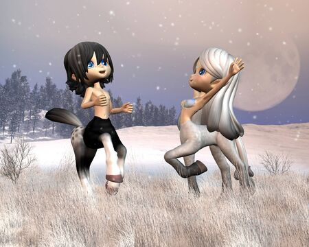 Two cute toon centaurs playing in the snow, 3d digitally rendered illustration illustration