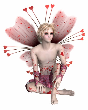 pixie: Valentine fairy boy with heart-shaped freckles and pink wings, 3d digitally rendered illustration