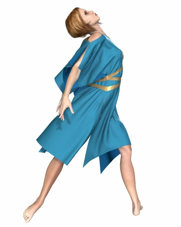 draped: Modern contemporary ballet dancer in a bright blue tunic, 3d digitally rendered illustration