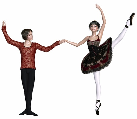 Young ballet dancers performing a Spanish dance pas de deux from a classical ballet, 3d digitally rendered illustration illustration
