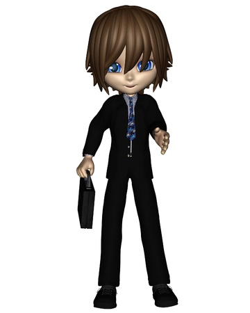 toon: Cute toon style business man in a dark suit holding a briefcase and ready to shake hands, 3d digitally rendered illustration Stock Photo