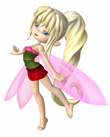 Cute toon fairy girl with blonde hair, dressed in summer petals and leaves, 3d digitally rendered illustration