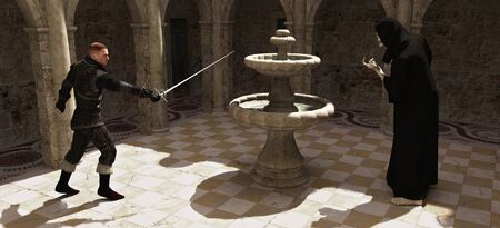 Grim Reaper: Swordsman fighting with the figure of death in a sunny courtyard, 3d digitally rendered illustration