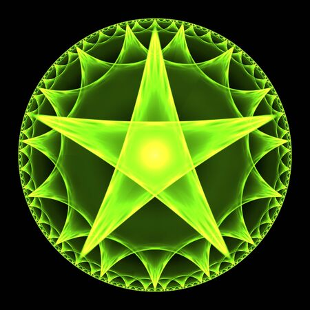 pentagram: Green pentangle abstract fractal design for backgrounds and wallpapers Stock Photo